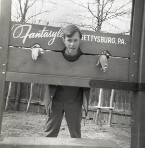 "Young man posing in the ""stockade"""